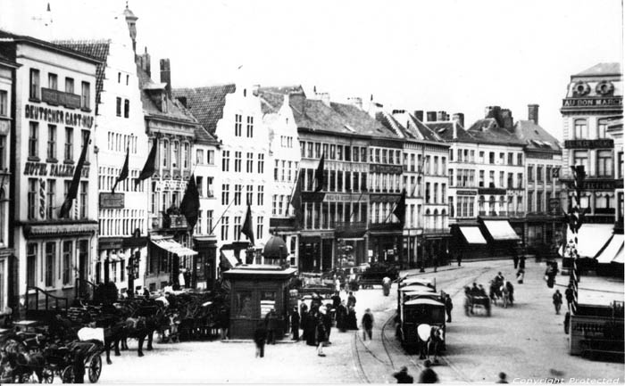 Korenmarkt with horses tram anno 1900 GHENT picture
