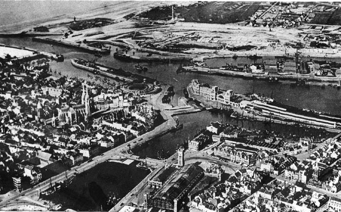 Old view from the air down at Ostende OOSTENDE picture